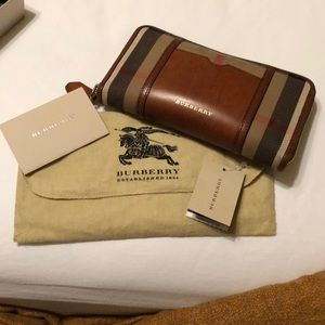 Burberry Brown Leather Check Canvas Large Wallet